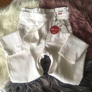 Express Super High Rise White Crop Jeans Skinny 0